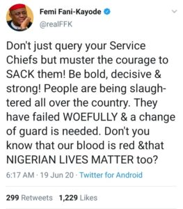 Sack Your Service Chiefs, Nigerians Are Being Slaughtered, FFK confronts Buhari