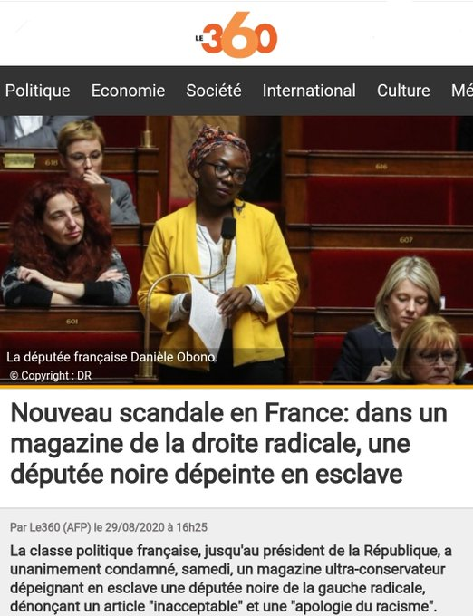 Macron, Castex and notable figures support Danielle Obono over Valeurs Actuelles Article