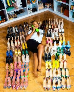 Nairalanders react as Linda Ikeji celebrates birthday with 80 pairs of shoes