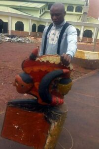 Nnajiofor Donatus arrests Ibeku Opi deity in Nsukka, Nigeria over poverty, failure of businesses.