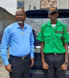 CEO of Fionet Security Services, Felix Obazee, employs his son as a security man at his company, shares story on LinkedIn.