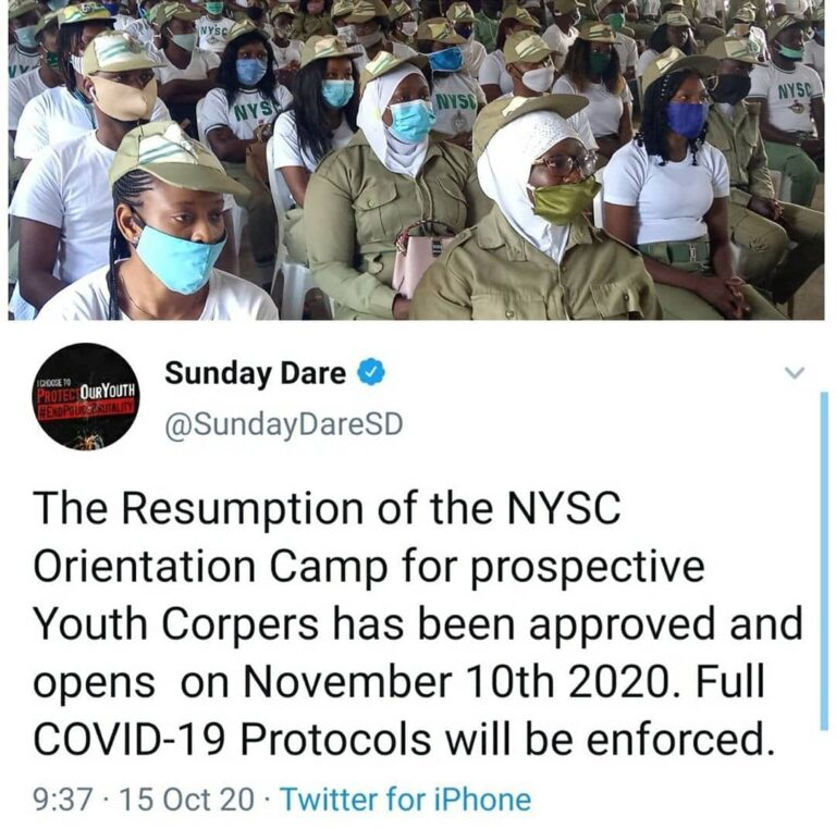 Breaking News: NYSC reopens on November 10, 2020
