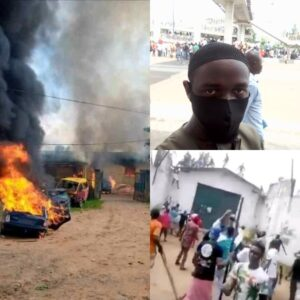 Governor Obaseki declares Curfew from 4 pm as Endsars protestors almost lynch bank security staff, play ping pong on Federal Road, burn prison and free inmates : 2 Videos