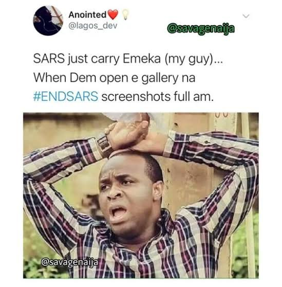 16 Best EndSARS memes, Funniest EndSARS protest pictures, top endSARSbrutality photos and Most Serious EndSARSnow Tweets on the Internet.