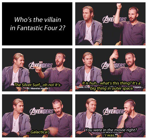 Chris Hemsworth and Chris Evans Avengers Interview On Whos The Villain In Fantastic Four 2