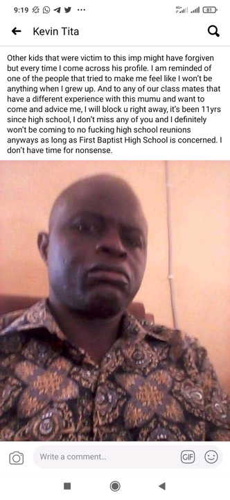 Facebook User Kevin Tita calls out wicked school teacher, promises never to forgive him.