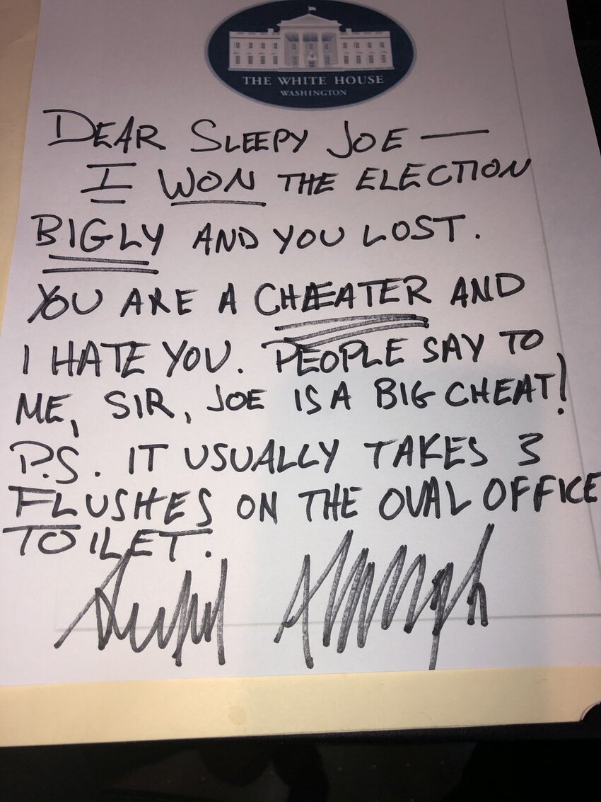 Read more about the article Trump letter to Biden Funny, ThingsIamgonnamissaboutTrump and funny Trump memes (pictures and video)