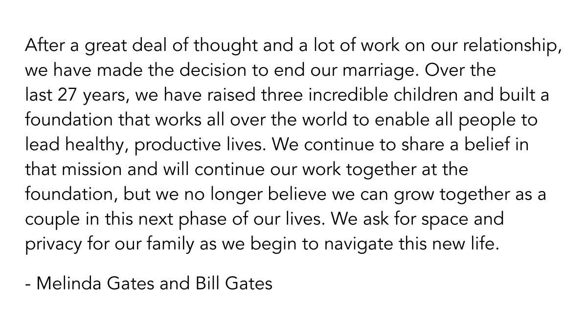 Read more about the article Bill and Melinda Gates are divorcing after 27 years: Melinda Gates Tweets to confirm split (Video)