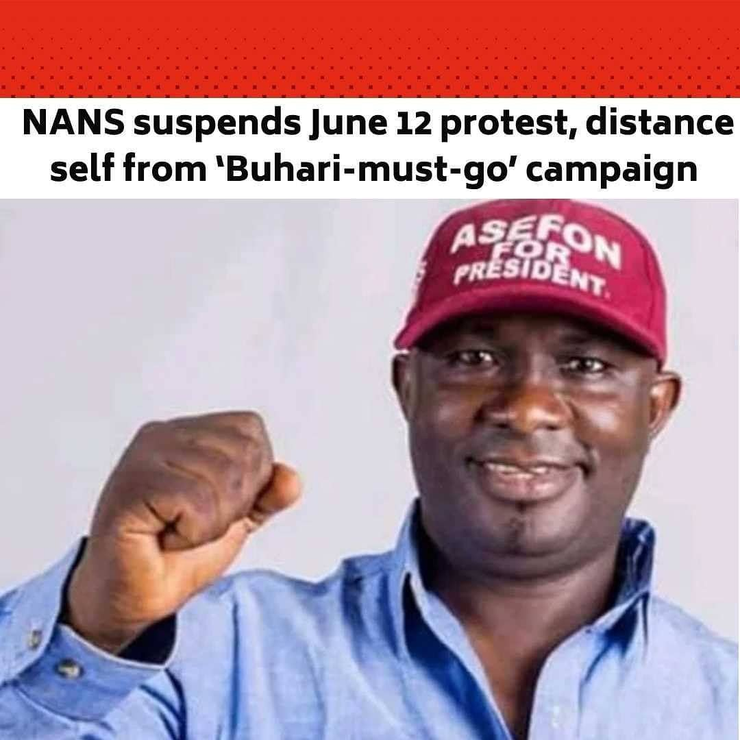 the national association of nigerian students has suspended its planned june 12 nationwide protest t